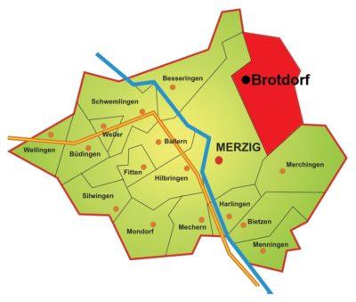 Brotdorf ist einer von 17 Stadtteilen in Merzig