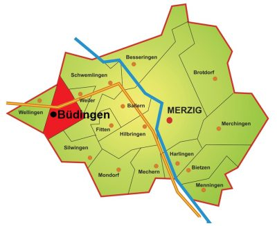 Die Karte zeigt die Lage des Stadtteils Büdingen im Merziger Stadtgebiet. Büdingen liegt im Westen Merzigs und somit auf der linken Saarseite. Im Norden Büdingens verläuft die Stadtgrenze, im Nordosten und Osten grenzt Büdingen an die Stadtteile Schwemlingen und Weiler. Im Süden grenzt Büdingen an Ballern und Silwingen. Im Südwesten Büdingens verläuft ebenfalls die Stadtgrenze und im Westen Büdingens liegt der Stadtteil Wellingen.