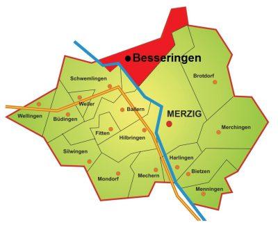 Die Grafik zeigt die geografische Lage des Stadtteils Besseringen im Stadtgebiet der Kreisstadt Merzig. Besseringen liegt vorrangig auf der rechten Saarseite und grenzt im Norden an die Stadtgrenze, im Osten an die Kernstadt Merzig, im Süden an Ballern und im Westen an Schwemlingen.