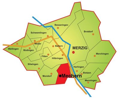 Die Karte zeigt die Lage Mecherns im Stadtgebiet von Merzig. Mechern liegt im Süden Merzigs auf der linken Saarseite. Im Norden grenzt Mechern an Hilbringen, im Osten an Harlingen, im Süden verläuft die Stadtgrenze und im Westen Mecherns liegt Mondorf.