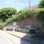 Zu sehen ist die Insel in Silwingen. Darauf befindet sich ein Brunnen und eine Sitzbank. Angepflanzte Sträucher und Blumen ummalen den Brunnen.