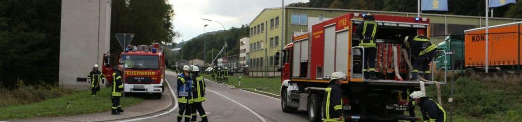 Übung der Feuerwehr bei einem Großbrand.