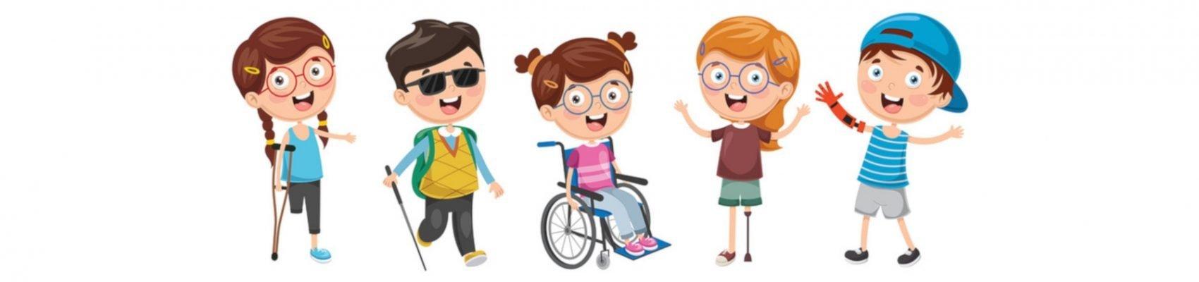 Ein Clipart stellt Kinder mit Behinderung dar.