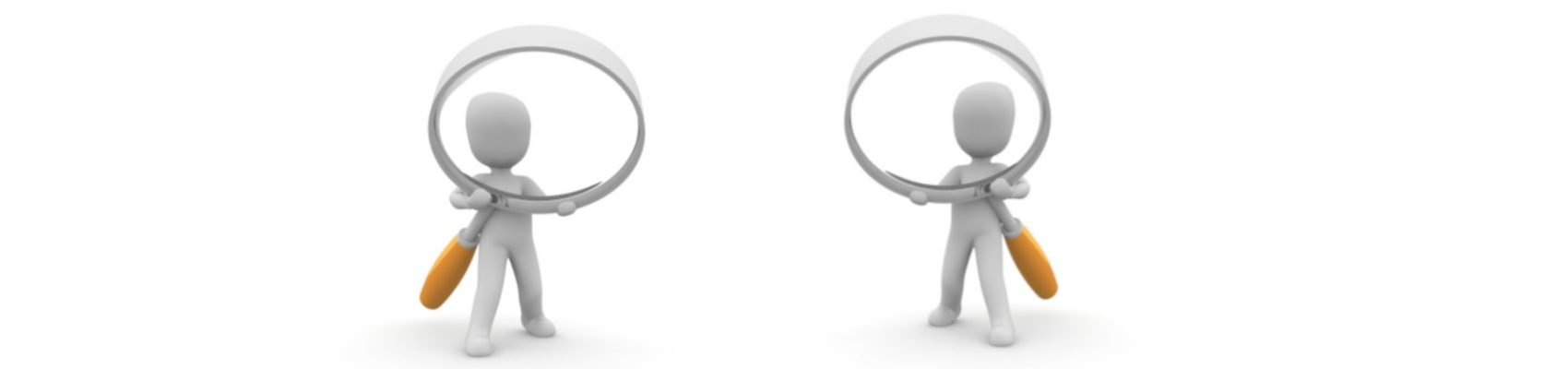 Auf dem Bild sind zwei Männchen mit einer Lupe in der Hand zu sehen.