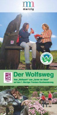 Das Bild zeigt die Titelseite des Wolfsweg-Flyers.