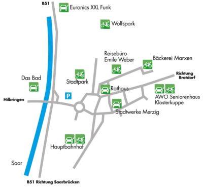 Die Grafik zeigt die Aufladestationen für E-Autos und E-Bikes in der Kreisstadt Merzig, die im folgenden Webseitenverlauf auch in Schriftform festgehalten sind.