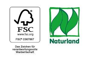 Das Bild zeigt die FSC- und Naturland-Logos.