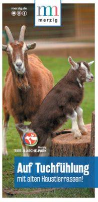 Das Bild zeigt die Titelseite des Flyers zum Tier- und Archepark.