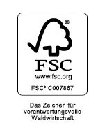 Die Grafik zeigt das Logo des FSC-Zertifikats. Darauf ist zu lesen: FSC. www.fsc.org . FSC C007867. Das Zeichen für verantwortungsvolle Waldwirtschaft.