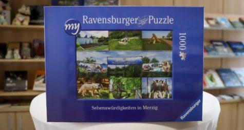 """Pressemeldung:  """"An die Teile, fertig, los!"""" – Puzzle mit Merziger Sehenswürdigkeiten ab sofort in der Tourist-Info erhältlich"""