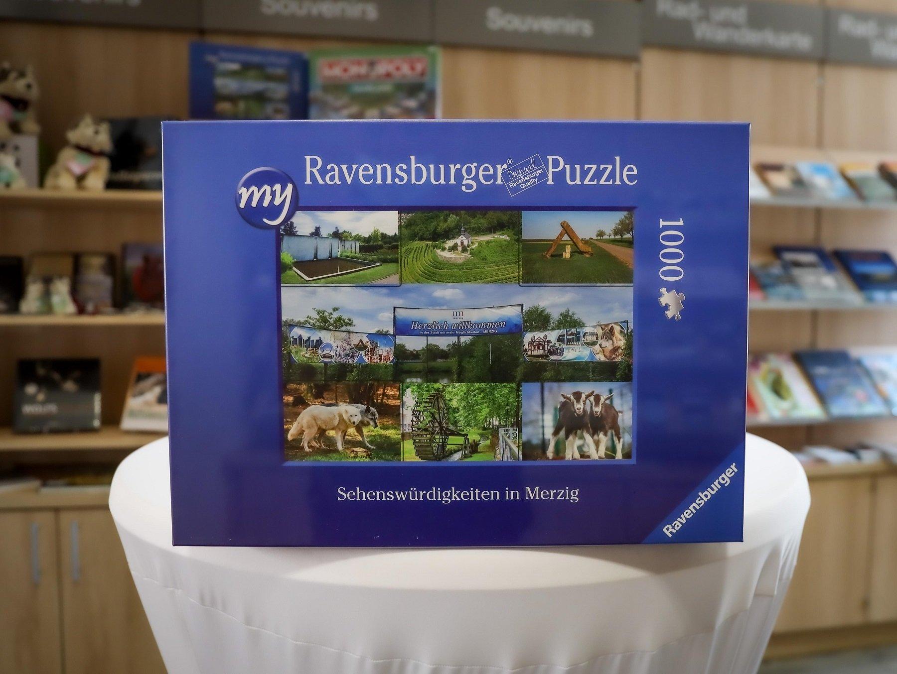 Das Foto zeigt den Kasten des Puzzles der Kreisstadt Merzig.