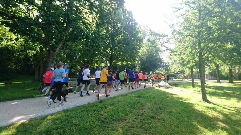 Das Foto zeigt Läuferinnen und Läufer beim Leinpfad-Parkrun.